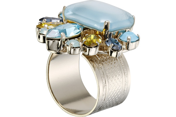 Bague Lime Light, dorure or fin, Turquoise Philippe Ferrandis
