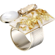 Bijoux Philippe Ferrandis - Bague rectangle Golden Girl, dorure or fin, Doré
