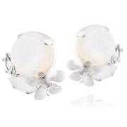 Bijoux Philippe Ferrandis - Boucles d'oreilles clips cabochon Beauty and the beast, blanches
