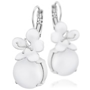 Bijoux Philippe Ferrandis - Boucles d'oreilles dormeuses duo Beauty and the beast, blanches