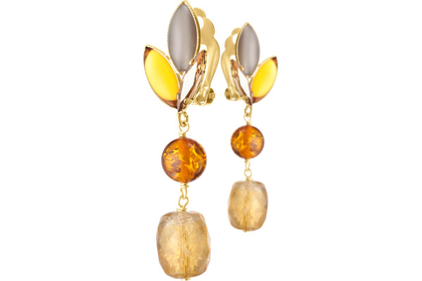 Boucles d'oreilles clips pendantes Honey, dorure or fin, Multicolores Philippe Ferrandis