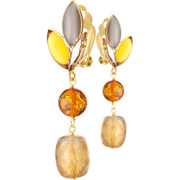 Bijoux Philippe Ferrandis - Boucles d'oreilles clips pendantes Honey, dorure or fin, Multicolores
