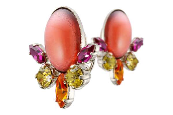 Boucles d'oreilles clips cabochon Lime Light, dorure or fin, rose-orangé, Philippe Ferrandis