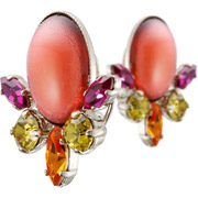 Bijoux Philippe Ferrandis - Boucles d'oreilles clips cabochon Lime Light, dorure or fin, rose-orangé,