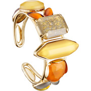 Bijoux Philippe Ferrandis - Bracelet manchette taille emeraude Honey, dorure or fin, Orange, Ø60mm