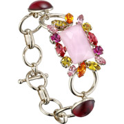 Bijoux Philippe Ferrandis - Bracelet maillons Lime Light, dorure or fin, Rose,