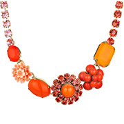 Bijoux Philippe Ferrandis - Collier Flower Power, cristal Swarovski, orange