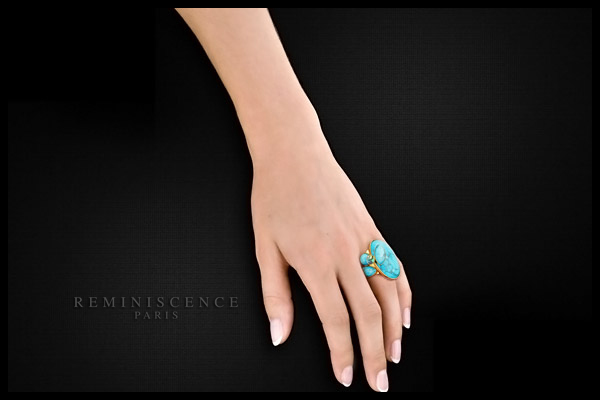 Bague Saint Barth plaquée or, Turquoise, cristal Swarovski, réglable Reminiscence, packaging
