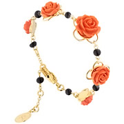 Bijoux Reminiscence - Bracelet roses Monica plaqué or