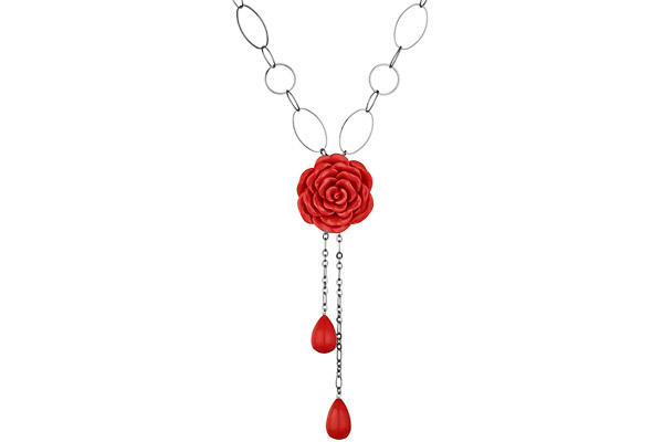 Collier cravate fleur Eros en résine, rouge Rose Haylland