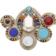 Bijoux Satellite - Broche Claudia, dorure or 14K, Multicolore