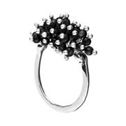 Bijoux Satellite - Bague pampilles argent Sweety noire - Taille 52