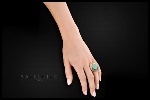 Bague médaillon Tananarive, dorure or 14K, Turquoise, réglable Satellite, packaging
