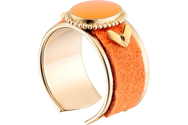 Anneau cabochon Alizia, dorure or 14K, Orange, réglable Satellite