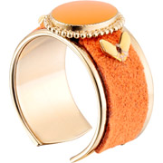Bijoux Satellite - Anneau cabochon Alizia, dorure or 14K, Orange, réglable