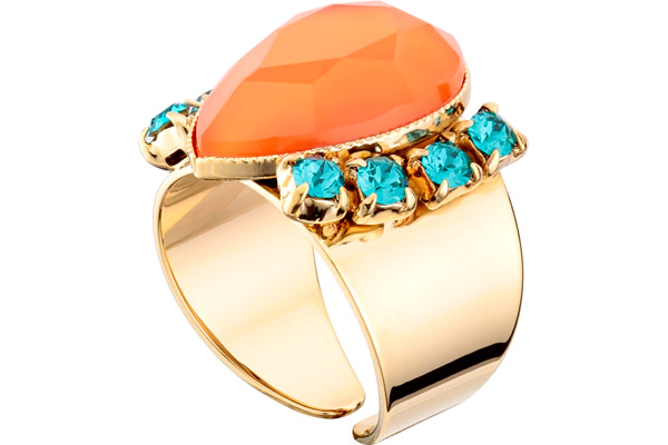 Bague poire Alizia, dorure or 14K, Orange, réglable Satellite