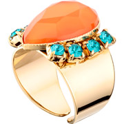 Bijoux Satellite - Bague poire Alizia, dorure or 14K, Orange, réglable