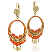Bijoux Satellite - Boucles d'oreilles créoles perles Vera Cruz orange