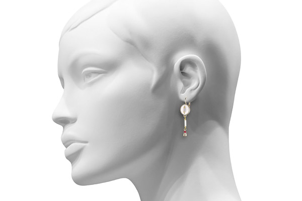 Boucles d'oreilles dormeuses Tananarive, dorure or 14K Satellite, plan large