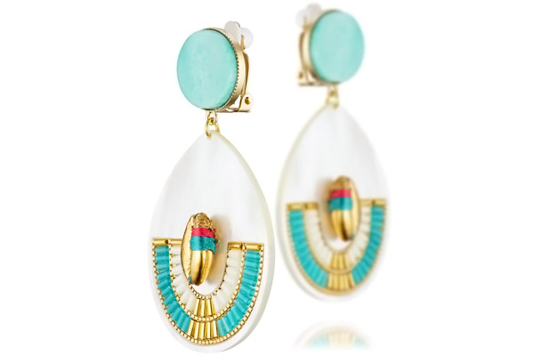 boucles d oreilles clips turquoise bijoux la mode. Black Bedroom Furniture Sets. Home Design Ideas