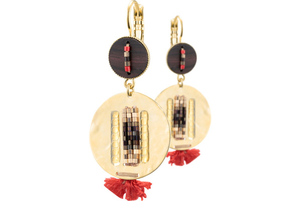 Boucles d'oreilles dormeuses duo Jane, dorure or 14K, Rouges Satellite