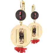 Bijoux Satellite - Boucles d'oreilles dormeuses duo Jane, dorure or 14K, Rouges