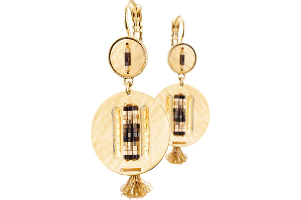 Boucles d'oreilles dormeuses duo Jane, dorure or 14K Satellite