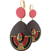 Bijoux Satellite - Boucles d'oreilles dormeuses duo XL Jane, dorure or 14K, Rouges