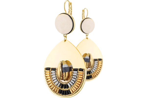 Boucles d'oreilles dormeuses duo XL Jane, dorure or 14K Satellite