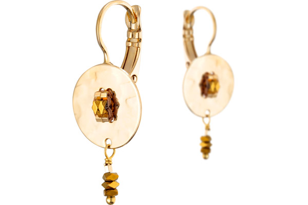 Boucles d'oreilles dormeuses June, dorure or 14K Satellite
