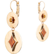 Bijoux Satellite - Boucles d'oreilles dormeuses duo June, dorure or 14K