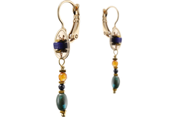 Boucles d'oreilles dormeuses Dakota, dorure or 14K Satellite
