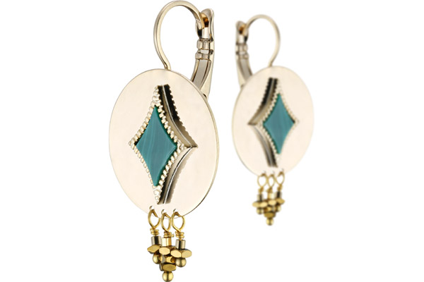 Boucles d'oreilles dormeuses losange June, dorure or 14K, Verte Satellite