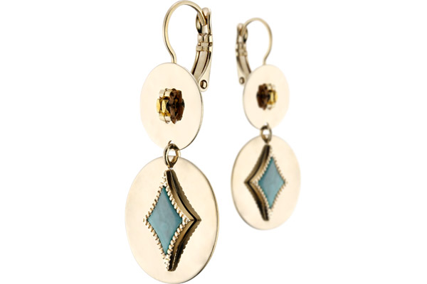 Boucles d'oreilles dormeuses duo June, dorure or 14K, Verte Satellite