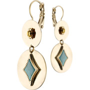 Bijoux Satellite - Boucles d'oreilles dormeuses duo June, dorure or 14K, Verte