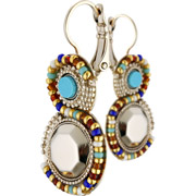 Bijoux Satellite - Boucles d'oreilles dormeuses duo Claudia, dorure or 14K, Multicolore