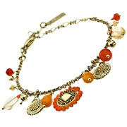 Bracelet pampilles et perles Vera Cruz orange Satellite