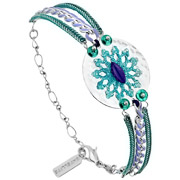 Bijoux Satellite - Bracelet médaillon Windy Flower argenté