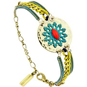 Bijoux Satellite - Bracelet médaillon Windy Flower doré
