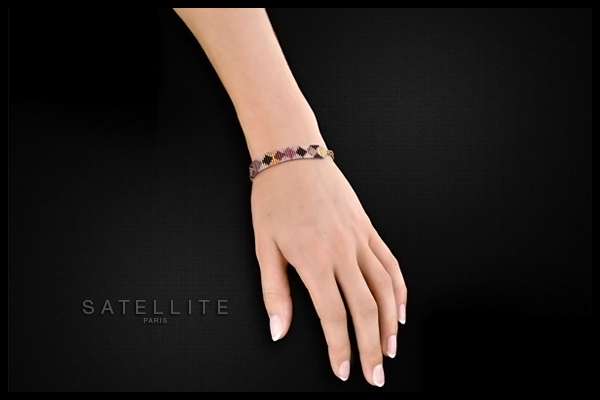 Bracelet chaîne XL Sofia dorure or 14K, violet Satellite, packaging