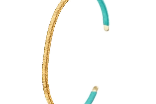 Bracelet jonc duo Tananarive, dorure or 14K, Turquoise, Ø60mm Satellite, gros plan