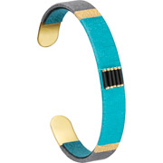 Bijoux Satellite - Bracelet manchette XL Jane, dorure or 14K, Turquoise, Ø60mm