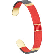 Bijoux Satellite - Bracelet manchette XL Jane, dorure or 14K, Rouge, Ø60mm