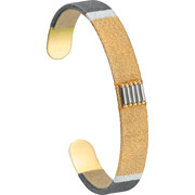 Bijoux Satellite - Bracelet manchette XL Jane, dorure or 14K, Ø60mm