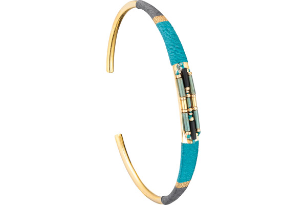 Bracelet manchette M Jane, dorure or 14K, Turquoise, Ø60mm Satellite