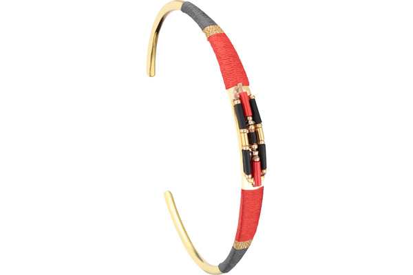 Bracelet manchette M Jane, dorure or 14K, Rouge, Ø60mm Satellite