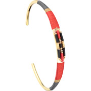 Bijoux Satellite - Bracelet manchette M Jane, dorure or 14K, Rouge, Ø60mm