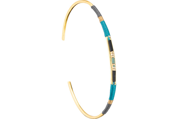 Bracelet manchette S Jane, dorure or 14K, Turquoise, Ø60mm Satellite