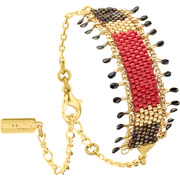 Bijoux Satellite - Bracelet chaîne Jane, dorure or 14K, Rouge