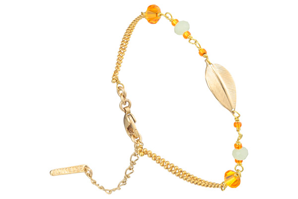 Bracelet chaîne Alizia, dorure or 14K, Orange Satellite